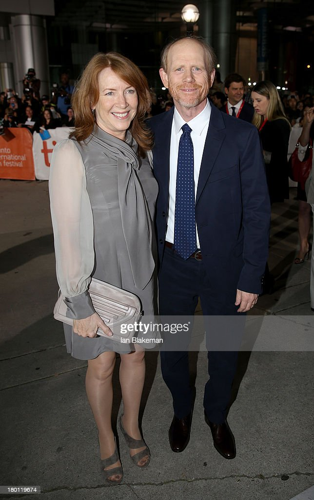 Director <a gi-track='captionPersonalityLinkClicked' href=/galleries/search?phrase=Ron+Howard+-+Director&family=editorial&specificpeople=201972 ng-click='$event.stopPropagation()'>Ron Howard</a> (R) and wife <a gi-track='captionPersonalityLinkClicked' href=/galleries/search?phrase=Cheryl+Howard&family=editorial&specificpeople=632588 ng-click='$event.stopPropagation()'>Cheryl Howard</a> attend the 'Rush' premiere during the 2013 Toronto International Film Festival at Roy Thomson Hall on September 8, 2013 in Toronto, Canada.