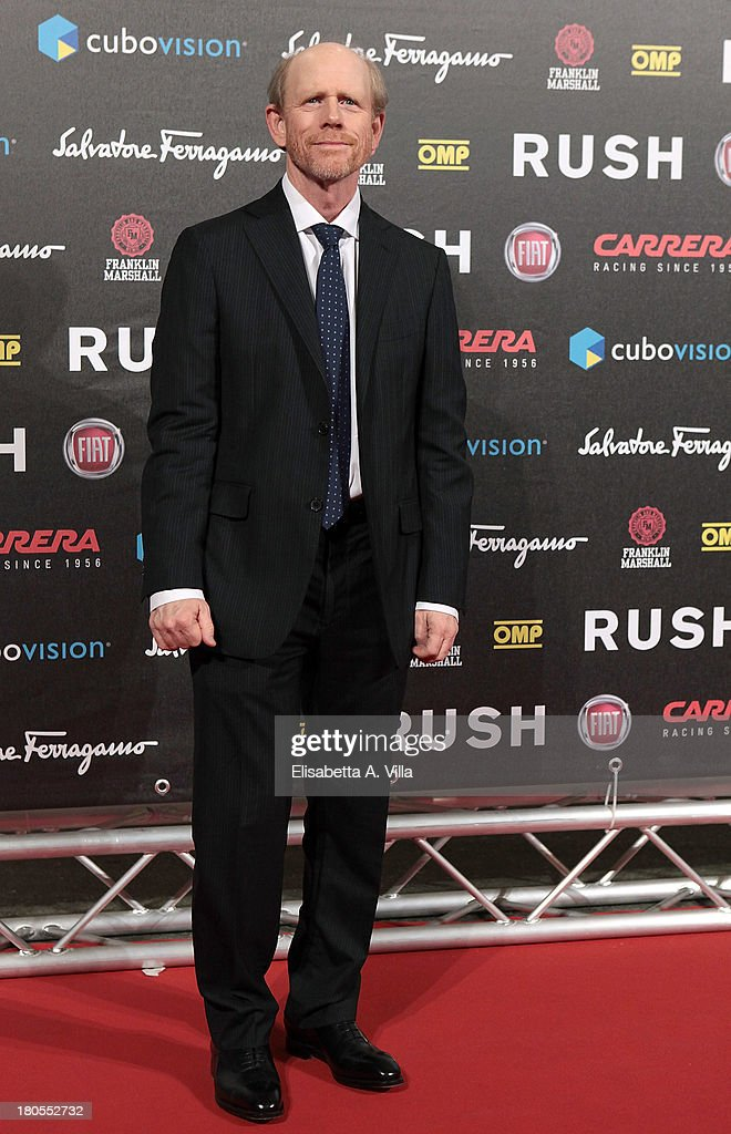 Director <a gi-track='captionPersonalityLinkClicked' href=/galleries/search?phrase=Ron+Howard+-+Director&family=editorial&specificpeople=201972 ng-click='$event.stopPropagation()'>Ron Howard</a> attends the 'Rush' premiere at Auditorium della Conciliazione on September 14, 2013 in Rome, Italy.