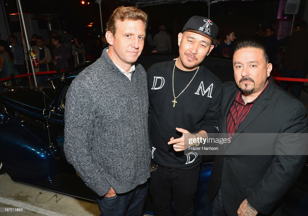 Director Ruben Fleischer, designer Ben Baller, Mister Cartoon attend SA Studios and Mister Cartoon VIP Screening and After Party of Warner Brothers Pictures 'Gangster Squad' at SA Studios on November 29, 2012 in Los Angeles, California.