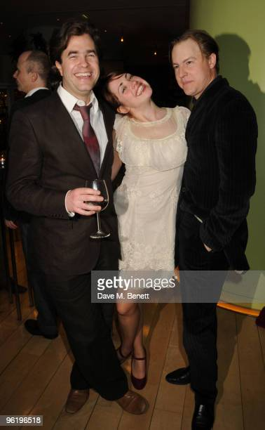 Director Rupert Goold writer Lucy Prebble and actor Samuel West attend the afterparty following the press night of 'Enron' at Asia de Cuba in St...