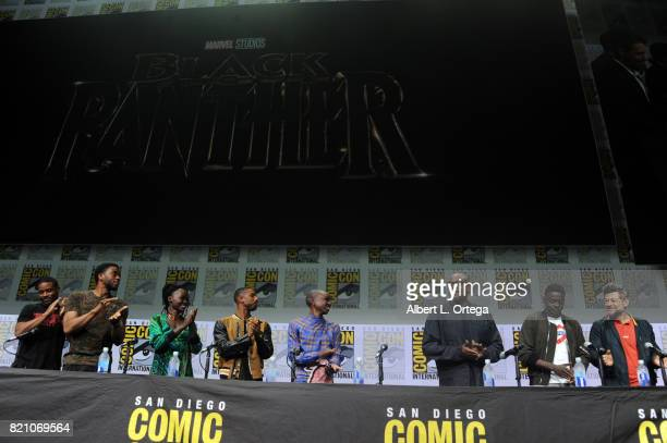 Director Ryan Coogler actors Chadwick Boseman Lupita Nyong'o Michael B Jordan Danai Gurira Forest Whitaker Daniel Kaluuya and Andy Serkis at ComicCon...