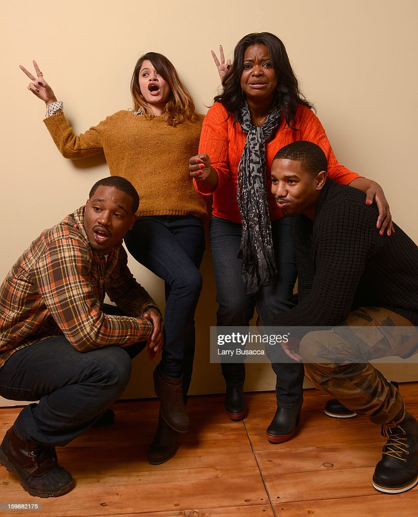 Director Ryan Coogler, actors Melonie Diaz, Octavia Spencer and Michael B. Jordan pose for a portrait during the 2013 Sundance Film Festival at the Getty Images Portrait Studio at Village at the Lift on January 19, 2013 in Park City, Utah.