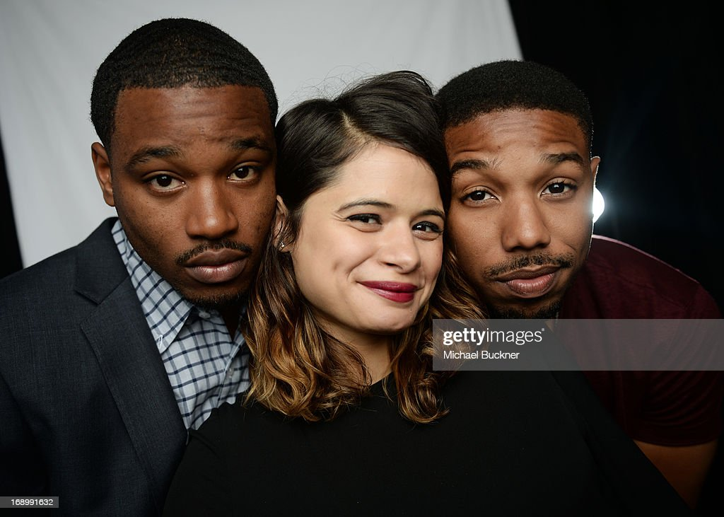 Director <a gi-track='captionPersonalityLinkClicked' href=/galleries/search?phrase=Ryan+Coogler&family=editorial&specificpeople=7316581 ng-click='$event.stopPropagation()'>Ryan Coogler</a>, actress Melanie Diaz, and actor Michael B. Jordan pose for a portrait at the Variety Studio at the 66th Annual Cannes Film Festival at Chivas House on May 18, 2013 in Cannes, France.
