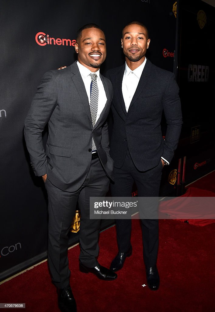"Director <a gi-track='captionPersonalityLinkClicked' href=/galleries/search?phrase=Ryan+Coogler&family=editorial&specificpeople=7316581 ng-click='$event.stopPropagation()'>Ryan Coogler</a> and actor <a gi-track='captionPersonalityLinkClicked' href=/galleries/search?phrase=Michael+B.+Jordan+-+Actor&family=editorial&specificpeople=608313 ng-click='$event.stopPropagation()'>Michael B. Jordan</a> attend Warner Bros. Pictures Invites You to ""The Big Picture"", an Exclusive Presentation Highlighting the Summer of 2015 and Beyond at The Colosseum at Caesars Palace during CinemaCon, the official convention of the National Association of Theatre Owners, on April 21, 2015 in Las Vegas, Nevada."