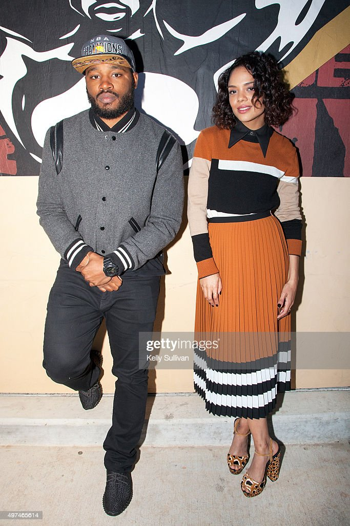 Director <a gi-track='captionPersonalityLinkClicked' href=/galleries/search?phrase=Ryan+Coogler&family=editorial&specificpeople=7316581 ng-click='$event.stopPropagation()'>Ryan Coogler</a> and actress <a gi-track='captionPersonalityLinkClicked' href=/galleries/search?phrase=Tessa+Thompson&family=editorial&specificpeople=808125 ng-click='$event.stopPropagation()'>Tessa Thompson</a> pose in front of a mural for their upcoming movie 'Creed' at Leadership High School on November 16, 2015 in San Francisco, California.
