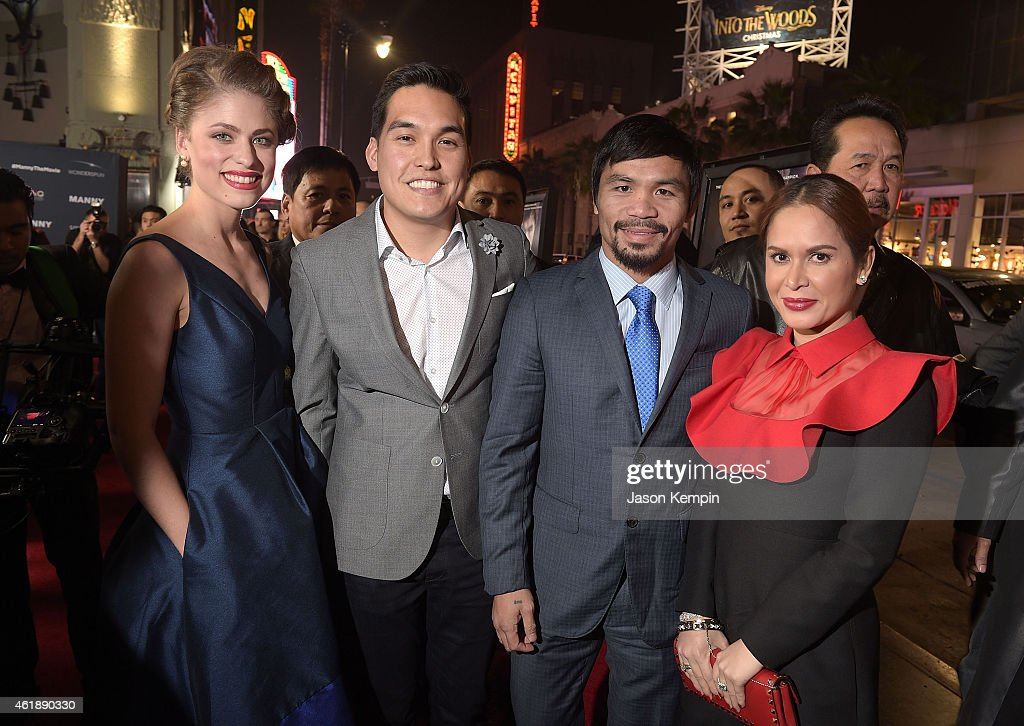 Director <a gi-track='captionPersonalityLinkClicked' href=/galleries/search?phrase=Ryan+Moore+-+Director&family=editorial&specificpeople=13861696 ng-click='$event.stopPropagation()'>Ryan Moore</a> (2nd from left), professional boxer <a gi-track='captionPersonalityLinkClicked' href=/galleries/search?phrase=Manny+Pacquiao&family=editorial&specificpeople=3855506 ng-click='$event.stopPropagation()'>Manny Pacquiao</a> and <a gi-track='captionPersonalityLinkClicked' href=/galleries/search?phrase=Jinkee+Pacquiao&family=editorial&specificpeople=6950931 ng-click='$event.stopPropagation()'>Jinkee Pacquiao</a> attend the premiere of 'Manny' at TCL Chinese Theatre on January 20, 2015 in Hollywood, California.