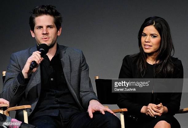 Director Ryan Piers Williams and America Ferrera attend the Apple Store Soho Presents Ryan Piers Williams America Ferrera and Jon Paul Phillips 'X/Y'...