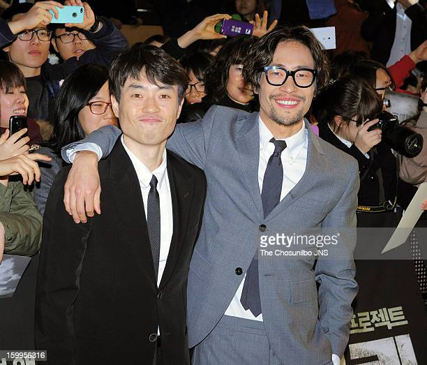 Director Ryoo SeungWan and Ryoo SeungBum attend the 'The Berlin File' Red Carpet Vip Press Screening at Times Square on January 23 2013 in Seoul...