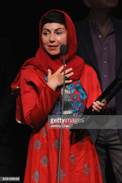 Director Sadaf Foroughi speaks on stage after being awarded with the Prize of the International Federation of Film Critics Discovery for 'Ava' at the...