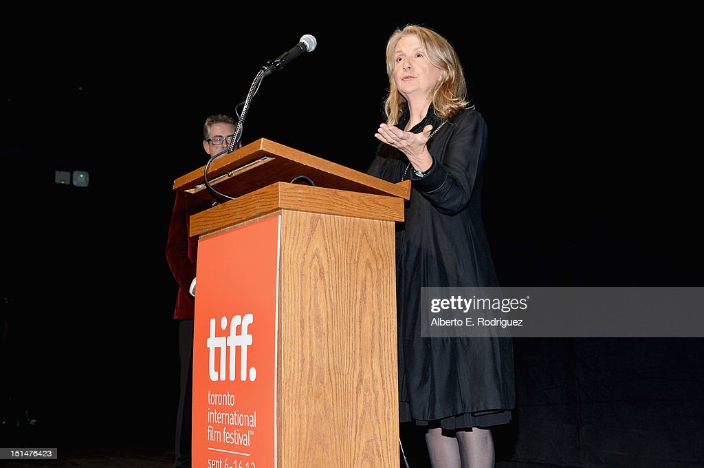 Director <a gi-track='captionPersonalityLinkClicked' href=/galleries/search?phrase=Sally+Potter&family=editorial&specificpeople=212743 ng-click='$event.stopPropagation()'>Sally Potter</a> speaks at the 'Ginger & Rosa' premiere during the 2012 Toronto International Film Festival at the The Elgin on September 7, 2012 in Toronto, Canada.