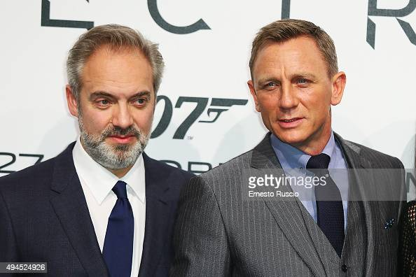 Director Sam Mendes and actor Daniel Craig attend a premiere for 'Spectre' at Auditorium Della Conciliazione on October 27 2015 in Rome Italy