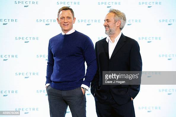Director Sam Mendes and Daniel Craig attend a photocall with cast and filmmakers to mark the start of the production of the 24th Bond Film and...