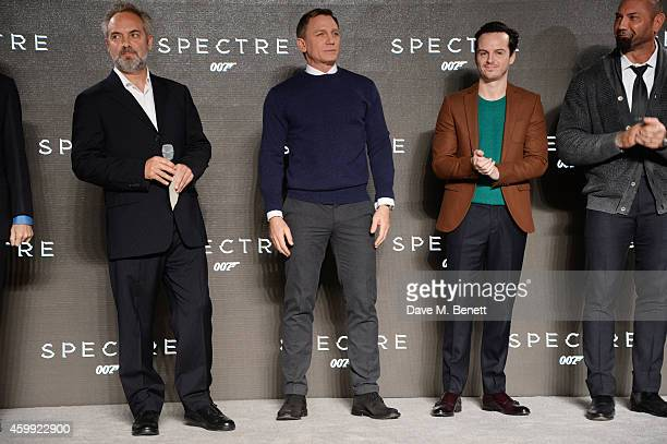 Director Sam Mendes Daniel Craig Andrew Scott and Dave Bautista attend a photocall with cast and filmmakers to mark the start of production which is...