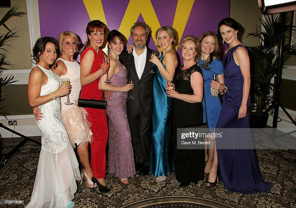 Director <a gi-track='captionPersonalityLinkClicked' href=/galleries/search?phrase=Sam+Mendes&family=editorial&specificpeople=211300 ng-click='$event.stopPropagation()'>Sam Mendes</a> (C) poses with female cast members at an after party celebrating the press night performance of 'Charlie And The Chocolate Factory' at The Grand Connaught Rooms on June 25, 2013 in London, England.