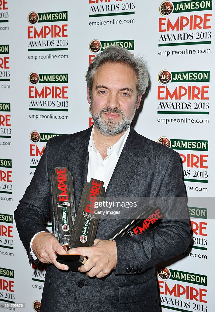 Director Sam Mendes poses with the Empire Inspiration, Best Director and Best Film awards for 'Skyfall' at the Jameson Empire Awards at Grosvenor House on March 24, 2013 in London, England. Renowned for being one of the most laid-back awards shows in the British movie calendar, the Jameson Empire Awards celebrate the film industry's success stories of the year with Empire Magazine readers voting for the winners. Visit empireonline.com/awards2013 for more information.