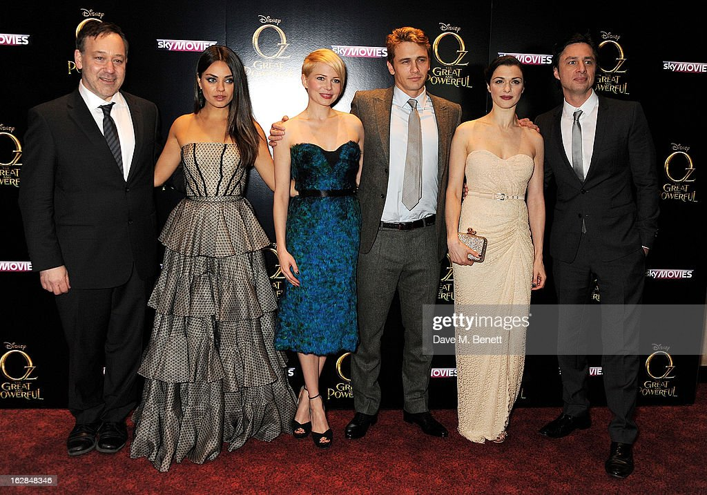 Director Sam Raimi, actors Mila Kunis, Michelle Williams, James Franco, Rachel Weisz and Zach Braff attend the European Premiere of 'Oz: The Great and Powerful' at Empire Leicester Square on February 28, 2013 in London, England.