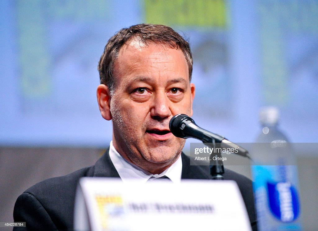 Director <a gi-track='captionPersonalityLinkClicked' href=/galleries/search?phrase=Sam+Raimi&family=editorial&specificpeople=215417 ng-click='$event.stopPropagation()'>Sam Raimi</a> makes a special appearence on the Sony Pictures Presentation for 'The Last Of Us' panel on Day 2 of Comic-Con International 2014 held at San Diego Convention Center on July 25, 2014 in San Diego, California.