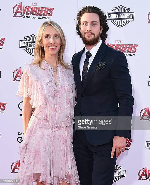 Director Sam TaylorJohnson and actor Aaron TaylorJohnson attend the premiere of Marvel's 'Avengers Age Of Ultron' at Dolby Theatre on April 13 2015...