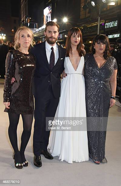 Director Sam TaylorJohnson Jamie Dornan Dakota Johnson and author EL James attend the UK Premiere of 'Fifty Shades Of Grey' at Odeon Leicester Square...