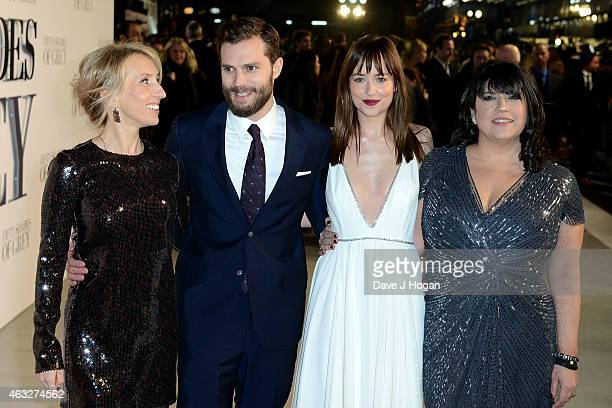 Director Sam TaylorJohnson Jamie Dornan Dakota Johnson and writer E L James attend the UK Premiere of 'Fifty Shades Of Grey' at Odeon Leicester...