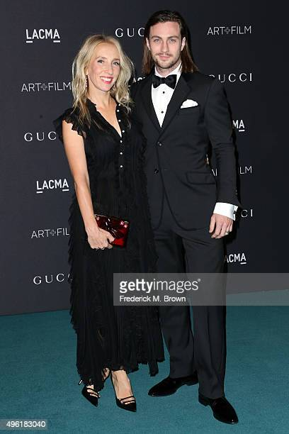 Director Sam TaylorJohnson wearing Gucci and actor Aaron TaylorJohnson attends LACMA 2015 ArtFilm Gala Honoring James Turrell and Alejandro G...