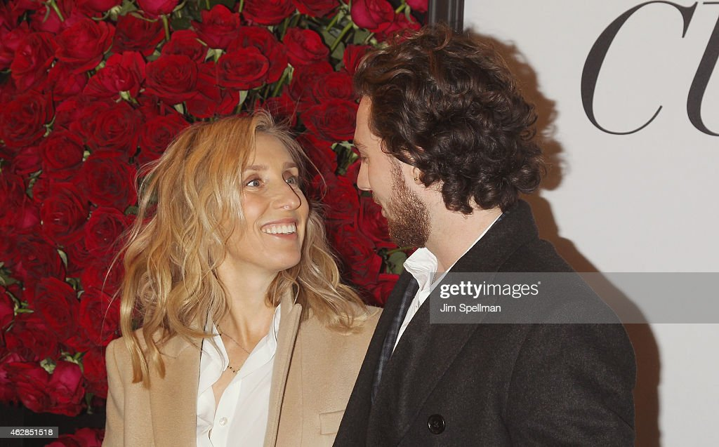 Director Samantha Taylor-Johnson and Aaron Taylor-Johnson attend the 'Fifty Shades Of Grey' New York fan first screening at Ziegfeld Theatre on February 6, 2015 in New York City.