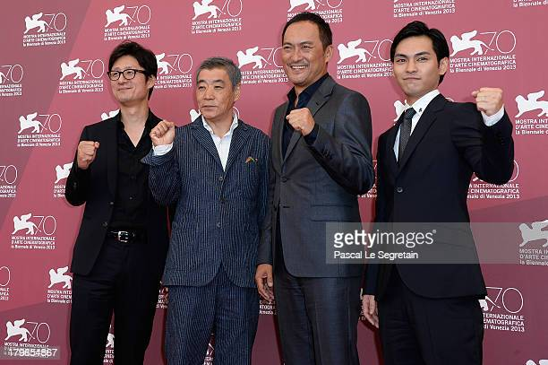 Director Sang Il Lee and actors Akira Emoto Ken Watanabe and Yuya Yagira attends 'Unforgiven' Photocall during the 70th Venice International Film...
