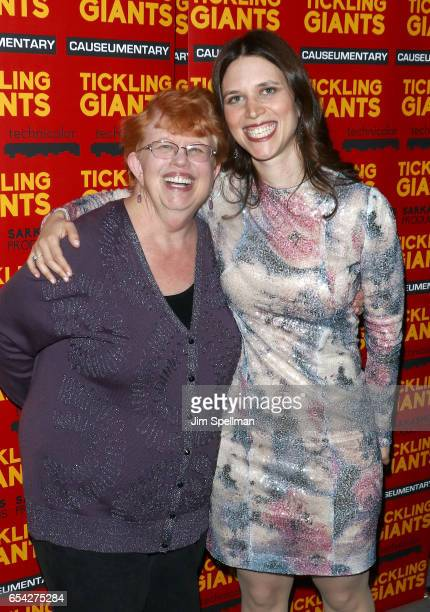 Director Sara Taksler and her mother Sharon Taksler attend the 'Tickling Giants' New York premiere at IFC Center on March 16 2017 in New York City