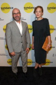Director Scott Burns and Teniel Humeston attend the Sundance Institute New York Benefit 2014 at Stage 37 on June 4 2014 in New York City