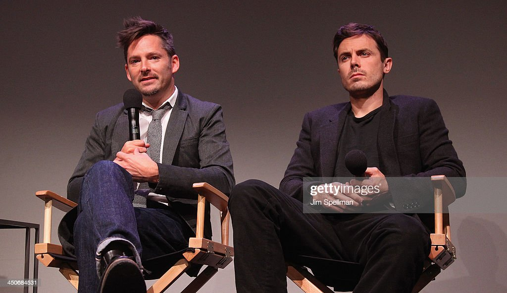 Director Scott Cooper and <a gi-track='captionPersonalityLinkClicked' href=/galleries/search?phrase=Casey+Affleck&family=editorial&specificpeople=1539212 ng-click='$event.stopPropagation()'>Casey Affleck</a> attend Meet the Filmmakers at the Apple Store Soho on November 19, 2013 in New York City.