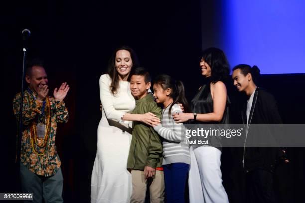 Director screenwriter and producer Angelina Jolie actor Kimhak Mun actress Sareum Srey Moch executive producer and screenwriter Loung Ung and...