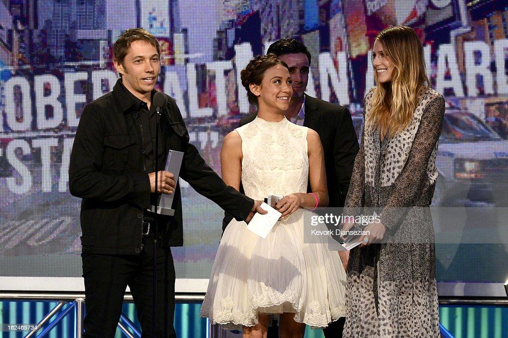 Director Sean Baker, actors Stella Maeve, James Ransone and Dree Hemingway accept the Robert Altman Award onstage during the 2013 Film Independent Spirit Awards at Santa Monica Beach on February 23, 2013 in Santa Monica, California.