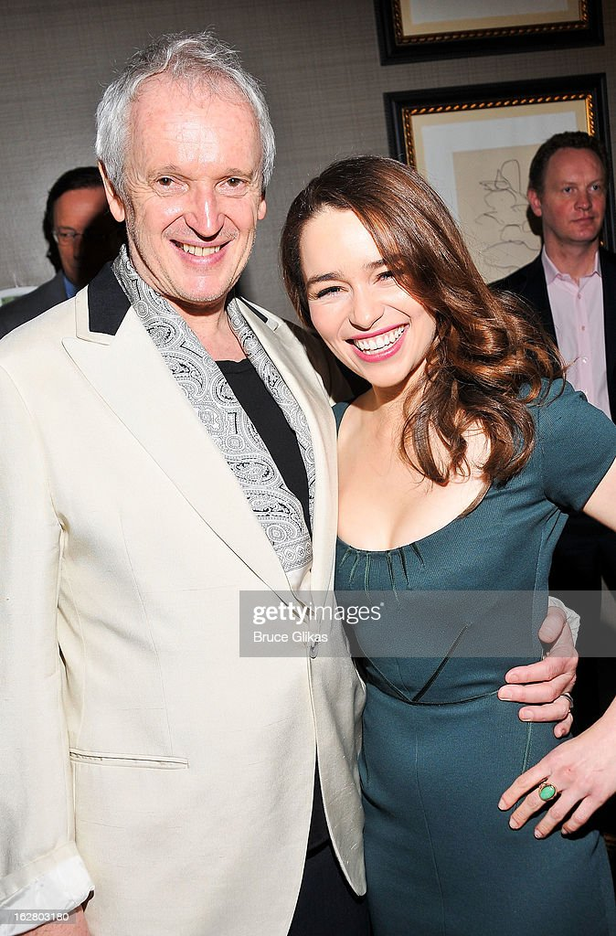 Director Sean Mathias and <a gi-track='captionPersonalityLinkClicked' href=/galleries/search?phrase=Emilia+Clarke&family=editorial&specificpeople=7426687 ng-click='$event.stopPropagation()'>Emilia Clarke</a> attend the press preview for 'Breakfast At Tiffany's' at The Carlyle Hotel Princess Diana Suite on February 27, 2013 in New York City.