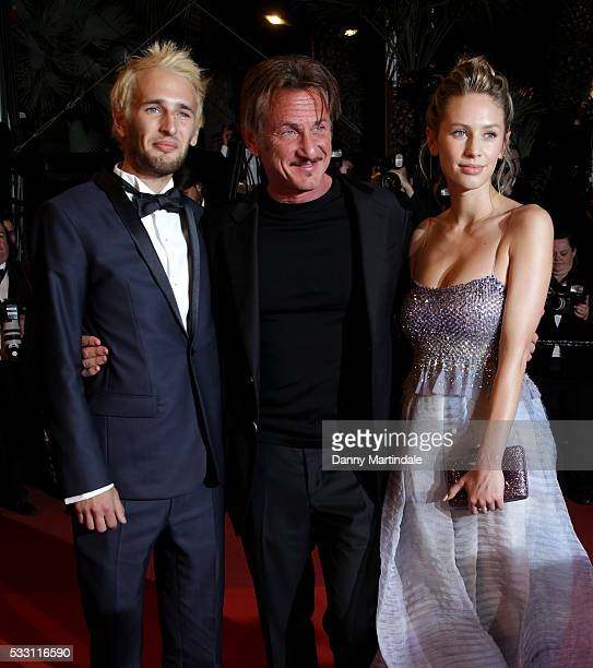 Director Sean Penn his son Hopper Penn and daughter Dylan Penn leave the screening of 'The Last Face' at the annual 69th Cannes Film Festival at...