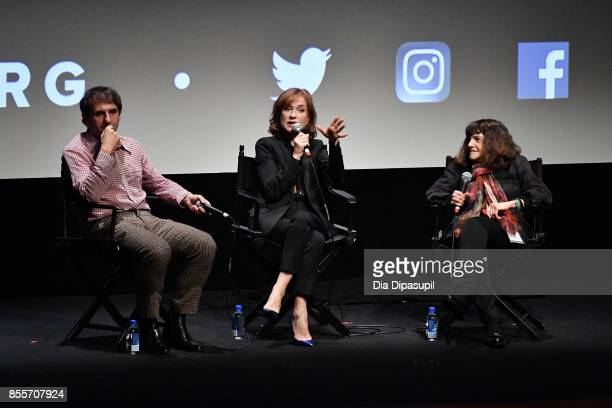 Director Serge Bozon actress Isabelle Huppert and moderator Amy Taubin take part in a QA following a screening of 'Mrs Hyde' during the 55th New York...