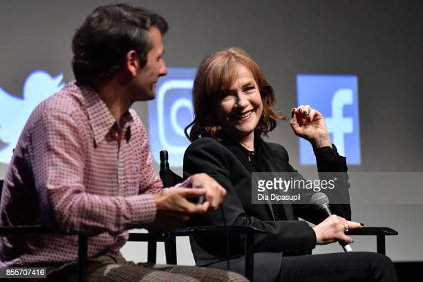 Director Serge Bozon and actress Isabelle Huppert take part in a QA following a screening of 'Mrs Hyde' during the 55th New York Film Festival at...