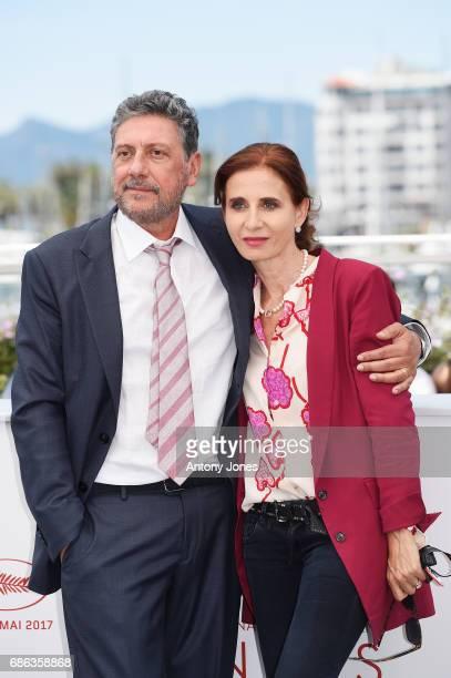 Director Sergio Castellitto and Screenwriter Margaret Mazzantini attend the 'Fortunata' photocall during the 70th annual Cannes Film Festival at...