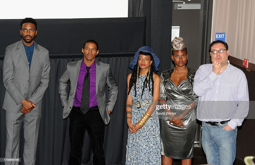 Director Shaka King, actors Amari Cheatom and Trae Harris, costume designer Charlese Antoinette Jones and producer Jim Wareck attend 'Newlyweeds' premiere during NEXT WEEKEND, presented by Sundance Institute at Sundance Sunset Cinema on August 10, 2013 in Los Angeles, California.