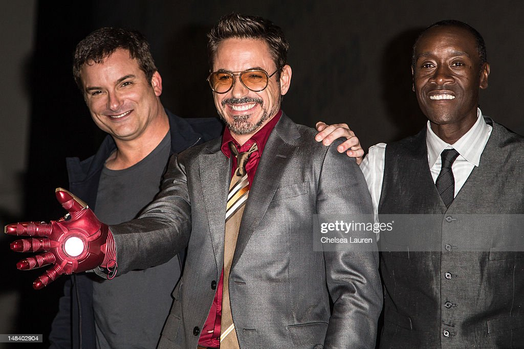 Director <a gi-track='captionPersonalityLinkClicked' href=/galleries/search?phrase=Shane+Black&family=editorial&specificpeople=810591 ng-click='$event.stopPropagation()'>Shane Black</a>, actor Robert Downey, Jr. and actor <a gi-track='captionPersonalityLinkClicked' href=/galleries/search?phrase=Don+Cheadle&family=editorial&specificpeople=202096 ng-click='$event.stopPropagation()'>Don Cheadle</a> attend the 'Iron Man 3' panel at San Diego Convention Center on July 14, 2012 in San Diego, California.