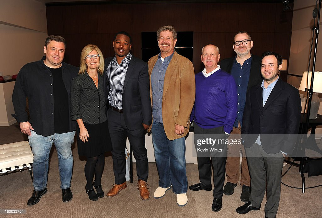 Director Shane Salerno, producer Pam Williams, director Ryan Coogler, director John Wells, producer Michael Menchel, director Morgan Neville and writer Danny Strong attend Deadline Hollywood's The Contenders on November 2, 2013 in Beverly Hills, California.