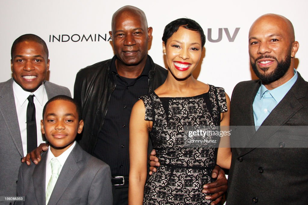 director Sheldon Candis, actor <a gi-track='captionPersonalityLinkClicked' href=/galleries/search?phrase=Dennis+Haysbert&family=editorial&specificpeople=212993 ng-click='$event.stopPropagation()'>Dennis Haysbert</a>, actor Michael Rainey Jr., actress Tracey Heggins, actor <a gi-track='captionPersonalityLinkClicked' href=/galleries/search?phrase=Common+-+Rapper&family=editorial&specificpeople=4124329 ng-click='$event.stopPropagation()'>Common</a> attends the 'LUV' Los Angeles premiere held at the Pacific Design Center on January 10, 2013 in West Hollywood, California.