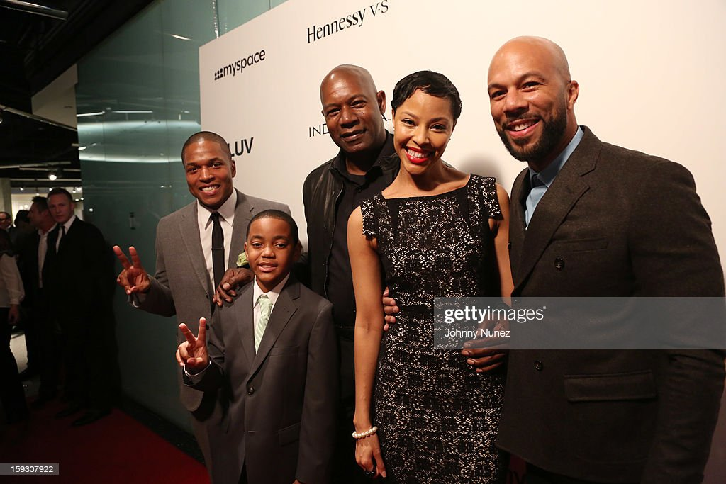 Director Sheldon Candis, actor Michael Rainey Jr., actor <a gi-track='captionPersonalityLinkClicked' href=/galleries/search?phrase=Dennis+Haysbert&family=editorial&specificpeople=212993 ng-click='$event.stopPropagation()'>Dennis Haysbert</a>, actress Tracey Heggins, and actor Common attend the Los Angeles premiere screening of 'LUV' at Pacific Design Center on January 10, 2013 in West Hollywood, California.