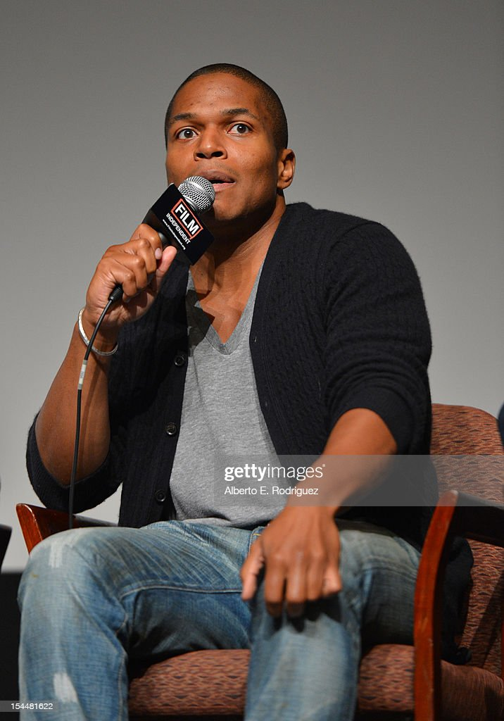 Director Sheldon Candis speaks onstage during the Film Independent Film Forum at Directors Guild of America on October 20, 2012 in Los Angeles, California.