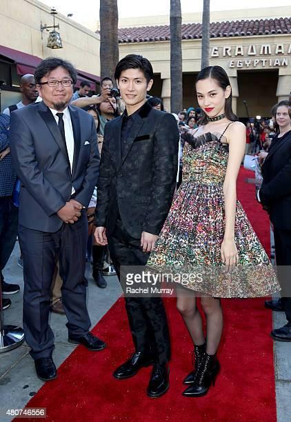 Director Shinji Higuchi and actors Haruma Miura and Kiko Mizuhara attend the 'ATTACK ON TITAN' World Premiere on July 14 2015 in Hollywood California