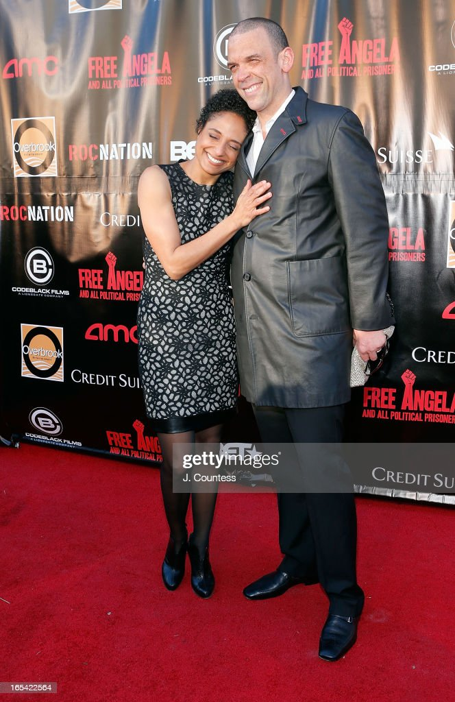 Director Shola Lynch and Vincent Morgan attend the 'Free Angela and All Political Prisoners' New York Premiere at The Schomburg Center for Research in Black Culture on April 3, 2013 in New York City.