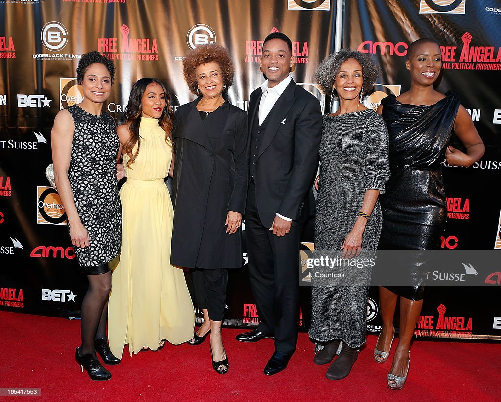 Director Shola Lynch, executive producer Jada Pinkett Smith, activists Angela Davis, actor/rapper Will Smith, Fania Davis and Sidra Smith attend 'Free Angela and All Political Prisoners' New York Premiere at The Schomburg Center for Research in Black Culture on April 3, 2013 in New York City.