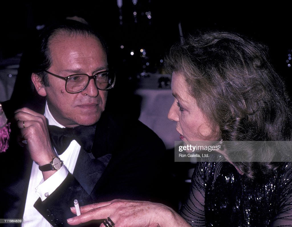 Director Sidney Lumet and actress Lauren Bacall attend Tribute Gala Honoring Myrna Loy on January 15, 1985 at the Waldorf Hotel in New York City.