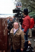 Director Sidney Lumet on set of the film 'Power' 1986