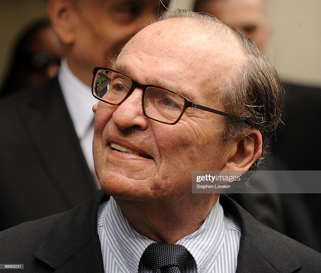 Director Sidney Lumet waits to enter the funeral service of late singer/actress Lena Horne at The Church of St Ignatius Loyola on May 14 2010 in New...