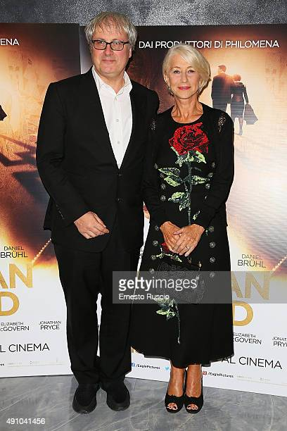 Director Simon Curtis and Helen Mirren attend the 'Woman In Gold' premiere at Sala Giulio Cesare In Rome on October 2 2015 in Rome Italy